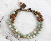 Turquoise agate bracelet, Double strand, Tiger jasper jewelry, Mixed stones, Boho cowgirl gift, Earthy present for friend