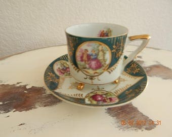 Vintage Royal Sealy Victorian Couple Matching Teacup & Saucer Set