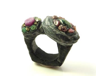 Resin ring-Raw ruby ring-raw emerald ring-black resin ring-huge raw crystal statement ring