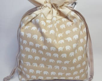 "Medium Lined DRAWSTRING Bag, ELEPHANTS, #84, 13""x8""x4"", project bag, storage bag"