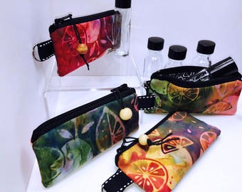Multicolor Batik Vape Juice Pouch, Essential Oil Bag, Lipstick Case, Small Zipper Pouch, Lip Balm Case, USB Case, Doterra Oil Storage