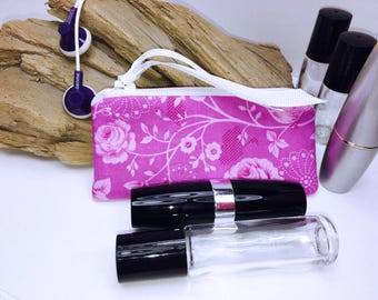Fuchsia Shabby Lipstick Case, Victorian Essential Oil Bag, Feminine Small Zipper Pouch, Lip Balm Case, USB Case, Doterra Oil Storage