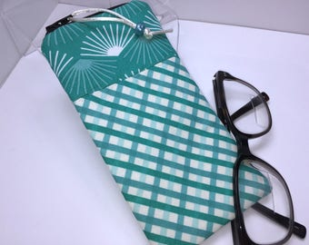 Teal Sunglasses Case, Glasses Case, Fabric Eyeglass Pouch, Zip Top Eyeglass Case, Sunglass Case