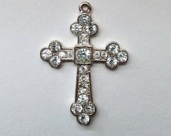 rhinestones cross, crystal cross, vintage cross, crystal cross pendant, vintage cross pendant, vintage cross, vintage jewelry, zircon cross