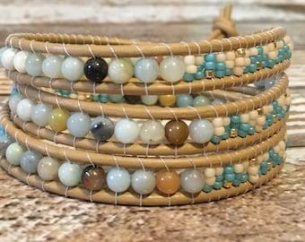Amazonite Bracelet / Healing Crystal Bracelet / Chan Luu Style Wrap Bracelet / Healing Crystal Bracelet / Chan Luu Bracelet