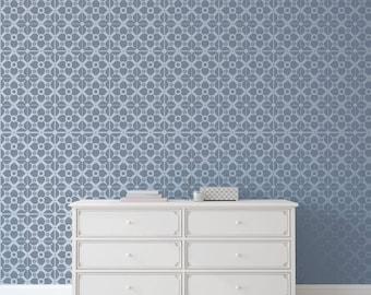 AMARI TILE All over Stencil / Reusable Stencil / DIY / Home Decor / Interiors / Feature Wall / Wallpaper alternative