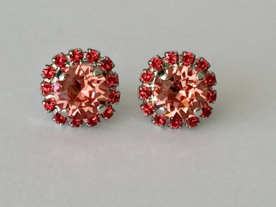 Rose Peach and Indian Pink Swarovski Crystal Earrings, Silver