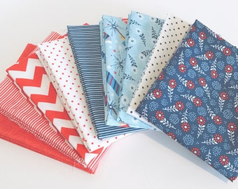 Fat Quarter Bundle of Parade on Main Riley Blake Designs with mixed basics- 9 Fabrics