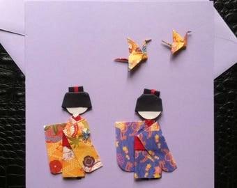 Carte de voeux ,anniverssaire faites main en origami .