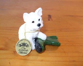The Leonardo Collection Westie (West Highland Terrier) with Green Wellington Boot