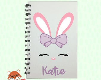 Girls easter gift etsy easter bunny bunny face journal easter basket stuffer easter kids gift negle