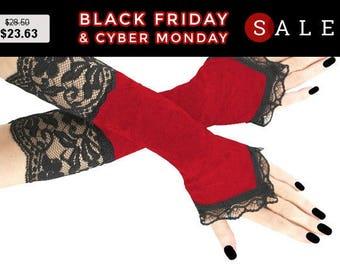 Black red long velvet lace fingerless gloves black lace arm warmers  gothic burlesque goth bridal gloves womens evening gloves vampire1205
