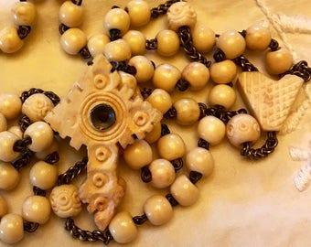 Antique Vintage Stanhope carved bone 1900's rosary.