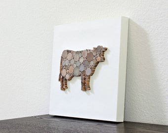 Mixed Media Art, Modern Country Wall Decor, Simple Cow Art, Modern Farmhouse Chic