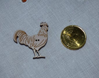 Wooden rooster Sepia collar button