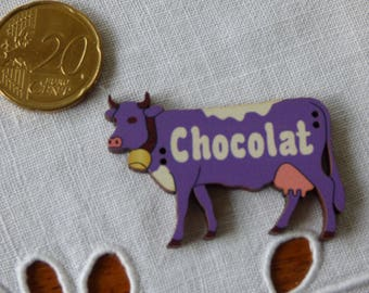 """Wooden cow """"chocolate"""" button"""