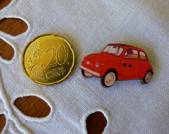 Red car wooden button