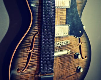 Premium Onyx K'LA STRAP, Black Guitar Strap, Designer Guitar Strap, Cool Guitar Strap, Guitar Gift
