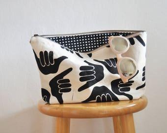 zipper bag // shaka // large // handprinted // black and white