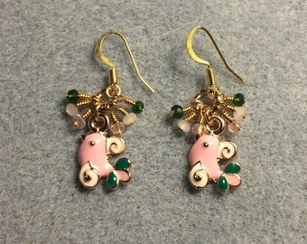 Small pink, white, and green enamel bird charm earrings adorned with tiny dangling pink, white, and green Chinese crystal beads.