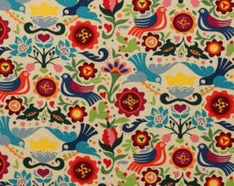 La Paloma – Folklorico – Alexander Henry – Coloured Birds / Flowers – Quilting Patchwork Fabric FQ