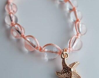 Starfish Gemstone Beaded Macrame Bracelet