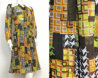 True Vintage 60s 70s Green Orange White OP ART Print Dagger Collar Dress - size 10-12