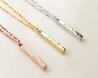 4 Sided Vertical Bar Necklace, engraved Necklace, Graduation gift - D4BN-D