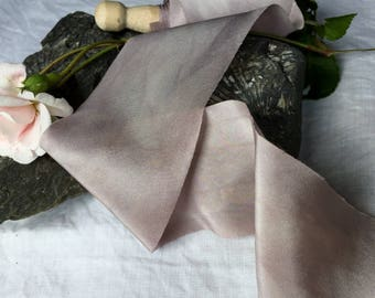 ASH hand dyed silk habotai ribbon / plant dyed / eco dyed / wedding ribbon / styling ribbon / photo prop / pure silk ribbon