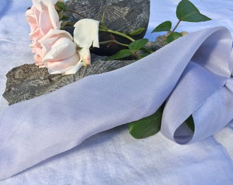 PERIWINKLE hand dyed silk ribbon / crepe de chine / lavender / plant dyed / eco dyed / wedding ribbon / styling ribbon / photo prop