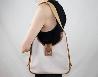HERMES bag, Vintage beige canvas, shoulder bag, hermes vintage, tan brown, canvas bag, Togo leather, TSAKO bag, vintage collector bag