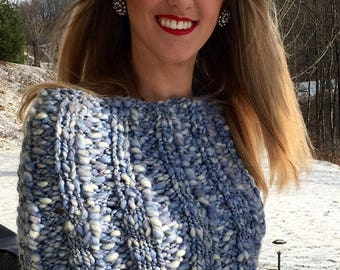 Womens Poncho, Blue chunky knit capelet, Chunky knit cape, FREE SHIPPING anywhere in the USA