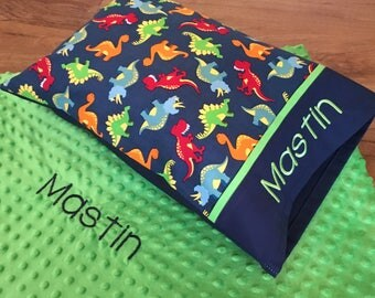 Boy Toddler Pillow, Dinosaurs + GREEN Minky Dot Blanket (Personalized)