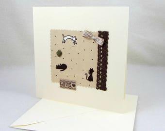 Carte d'anniversaire, carte et enveloppe,  carte vierge, carte en tissu chat, carte chat,