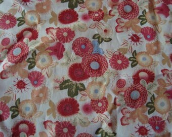 Popelinea flowers, white background cotton fabric