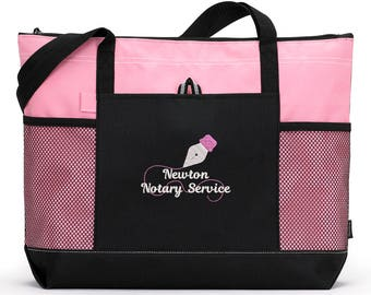 Notary Public Personalized  Zippered Tote Bag with Mesh Pockets, Beach Bag, Boating, Exclusive Design
