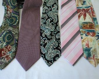 REDUCED - Five Vintage assorted neck ties  (02988)