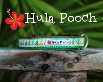 "Christmas Dog Collar / Holiday Dog Collar:  ""Small Trees"" Small, Medium, Adjustable // FREE SHIPPING"