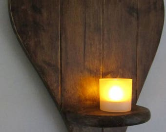 Large heart shaped rustic reclaimed wooden sconce candle holder