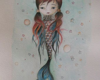 Drawing with watercolor and colored pencils - Mermaid