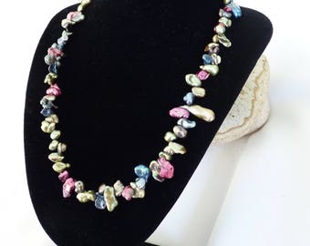 Mixed Colour Keshi Freshwater Pearl Necklace