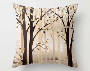 Brown Pillow, Beige Throw Pillow, Art Pillow, Tree Pillow, Tan Pillows, Decorative Pillow Covers, Couch Pillows, Cushions, Designer Pillows