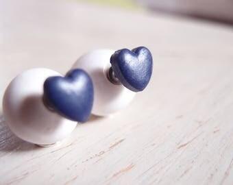 Double sided earrings, pearl earrings, double bead earring, double pearl earrings, double ball earrings, heart earrings