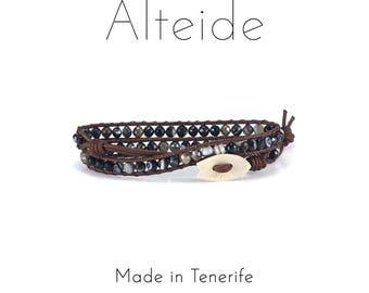 Bracelet Benijo 2 waves - Alteide - made in Tenerife - surf inspired - 925 Silver - man woman - Black Agata