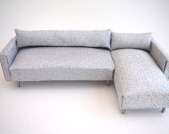 Sofa Couch Chaise Modern Miniatures 112 Scale Dolls House Ice Grey Textured Woven Metallic : mini chaise - Sectionals, Sofas & Couches