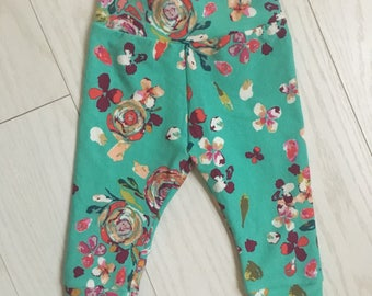 Teal with floral pink multi flowers baby girl leggings!