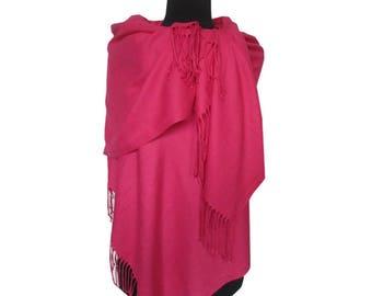 Hot Pink Scarf, Plain Pashmina, Christmas Gifts for Women, Pashmina Scarf, Fashion Shawl, Pink Long Pashmina, Gift for Girlfriend