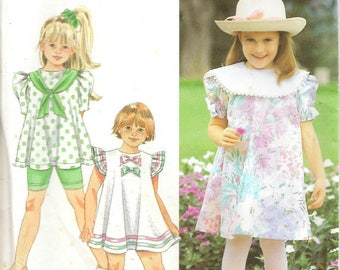 90s Simplicity Sewing Pattern 7726 Child's Dress Tunic Bicycle Shorts Size 2-4