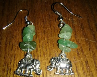 Elephant and Agate Drop Earrings