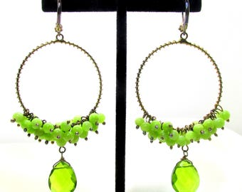 Vintage Green Beaded Hoop Pierced Earrings